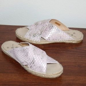 Anthropologie pink cross strap espadrille sandals